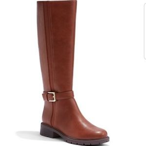 Cognac riding boot with buckle detail